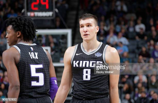 Bogdan Bogdanovic of the Sacramento Kings looks on during the game against the cLos Angeles Clippers on January 11 2018 at Golden 1 Center in...
