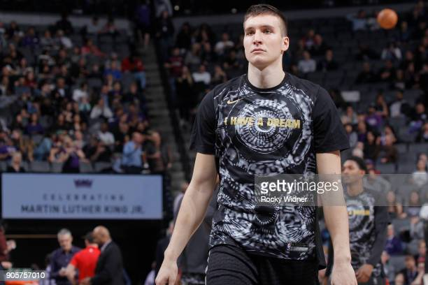 Bogdan Bogdanovic of the Sacramento Kings looks on during the game against the Los Angeles Clippers on January 11 2018 at Golden 1 Center in...