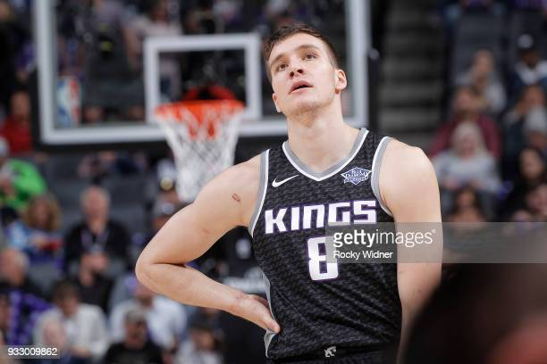 Bogdan Bogdanovic of the Sacramento Kings looks on during the game against the Orlando Magic on March 9 2018 at Golden 1 Center in Sacramento...
