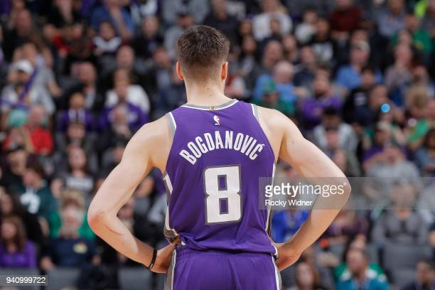 ad5bde242a5d Bogdan Bogdanovic of the Sacramento Kings looks on during the game against  the Boston Celtics on