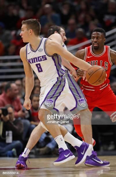 Bogdan Bogdanovic of the Sacramento Kings moves against the Chicago Bulls at the United Center on December 1 2017 in Chicago Illinois The Kings...