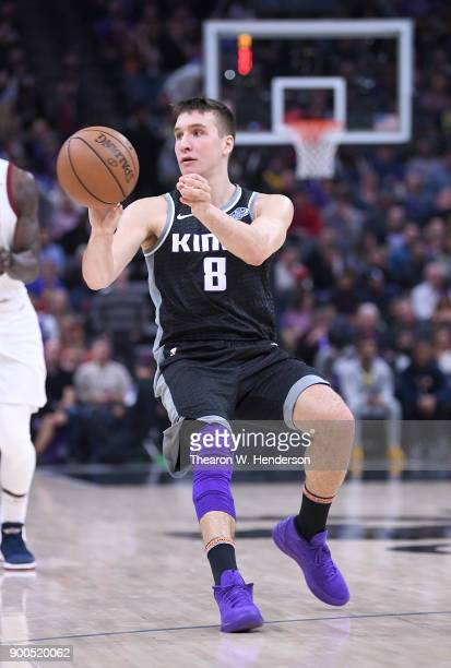 Bogdan Bogdanovic of the Sacramento Kings passes the ball against the Cleveland Cavaliers during their NBA basketball game at Golden 1 Center on...