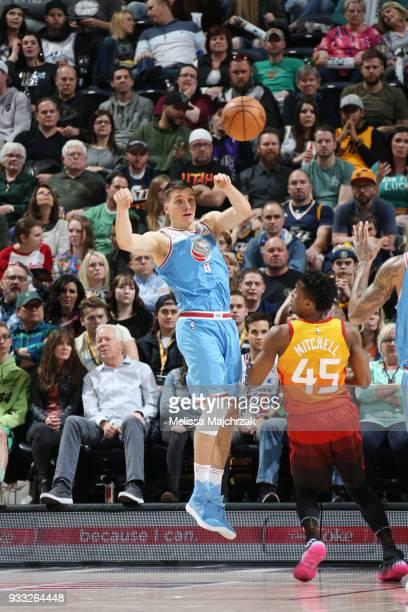 Bogdan Bogdanovic of the Sacramento Kings passes the ball against the Utah Jazz on March 17 2018 at vivintSmartHome Arena in Salt Lake City Utah NOTE...