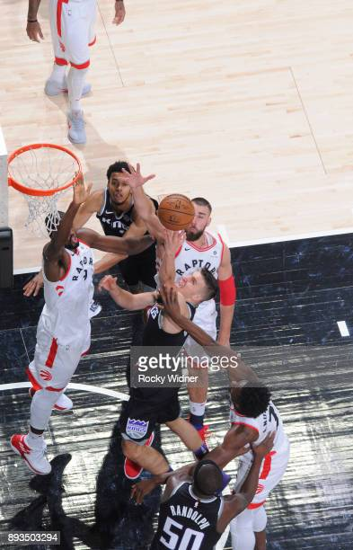 Bogdan Bogdanovic of the Sacramento Kings puts up a shot against the Toronto Raptors on December 10 2017 at Golden 1 Center in Sacramento California...