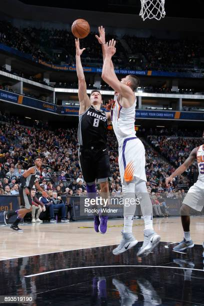 Bogdan Bogdanovic of the Sacramento Kings puts up a shot against the Phoenix Suns on December 12 2017 at Golden 1 Center in Sacramento California...
