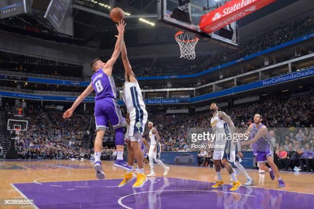 Bogdan Bogdanovic of the Sacramento Kings puts up a shot against the Denver Nuggets on January 6 2018 at Golden 1 Center in Sacramento California...