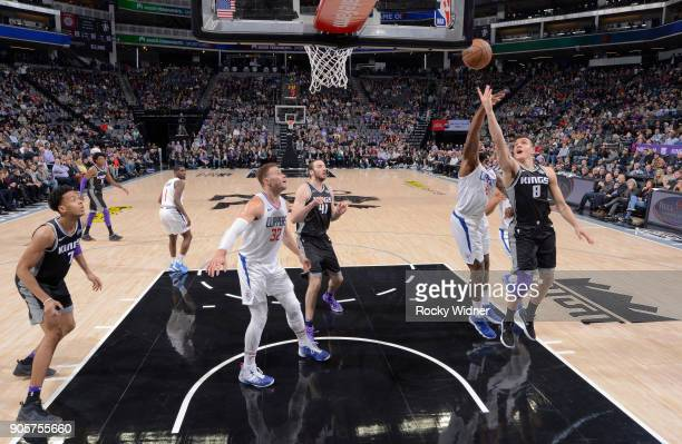 Bogdan Bogdanovic of the Sacramento Kings puts up a shot against the Los Angeles Clippers on January 11 2018 at Golden 1 Center in Sacramento...