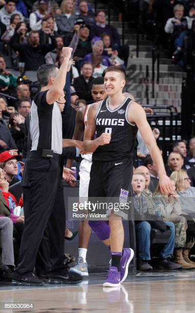 Bogdan Bogdanovic of the Sacramento Kings reacts during the game against the Phoenix Suns on December 12 2017 at Golden 1 Center in Sacramento...