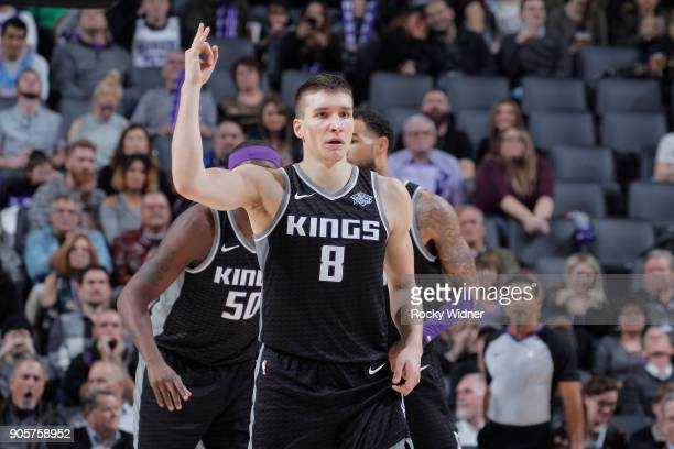 Bogdan Bogdanovic of the Sacramento Kings reacts during the game against the Los Angeles Clippers on January 11 2018 at Golden 1 Center in Sacramento...