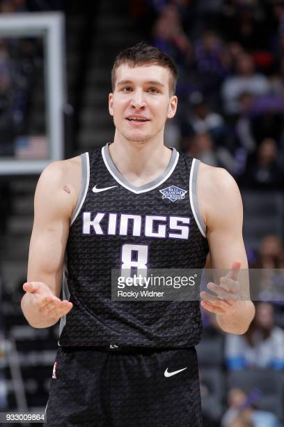 Bogdan Bogdanovic of the Sacramento Kings reacts during the game against the Orlando Magic on March 9 2018 at Golden 1 Center in Sacramento...