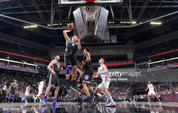 Bogdan Bogdanovic of the Sacramento Kings rebounds against the Los Angeles Clippers on January 11 2018 at Golden 1 Center in Sacramento California...