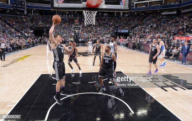 Bogdan Bogdanovic of the Sacramento Kings rebounds against the Orlando Magic on March 9 2018 at Golden 1 Center in Sacramento California NOTE TO USER...