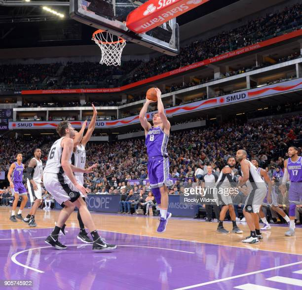 Bogdan Bogdanovic of the Sacramento Kings rebounds against the San Antonio Spurs on January 8 2018 at Golden 1 Center in Sacramento California NOTE...