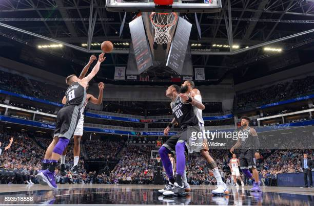 Bogdan Bogdanovic of the Sacramento Kings rebounds against the Phoenix Suns on December 12 2017 at Golden 1 Center in Sacramento California NOTE TO...