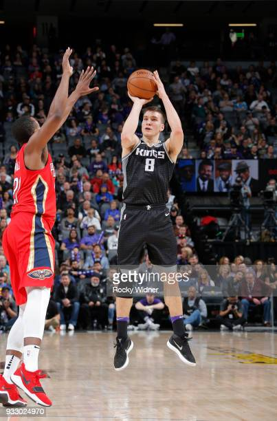 Bogdan Bogdanovic of the Sacramento Kings shoot against the New Orleans Pelicans on March 7 2018 at Golden 1 Center in Sacramento California NOTE TO...