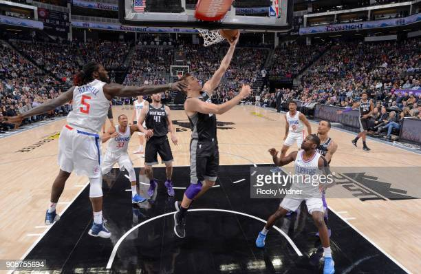 Bogdan Bogdanovic of the Sacramento Kings shoots a layup against the Los Angeles Clippers on January 11 2018 at Golden 1 Center in Sacramento...