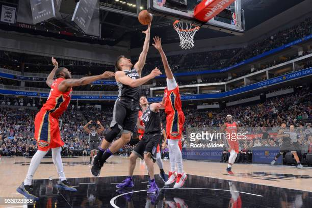 Bogdan Bogdanovic of the Sacramento Kings shoots a layup against the New Orleans Pelicans on March 7 2018 at Golden 1 Center in Sacramento California...