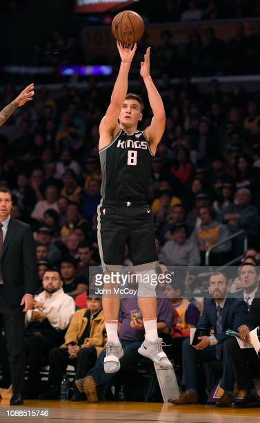 Bogdan Bogdanovic of the Sacramento Kings shoots a three pointer against the Los Angeles Lakers at Staples Center on December 30 2018 in Los Angeles...