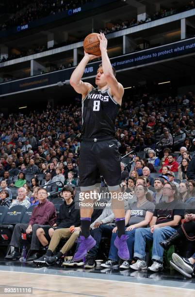 Bogdan Bogdanovic of the Sacramento Kings shoots a three pointer against the Toronto Raptors on December 10 2017 at Golden 1 Center in Sacramento...