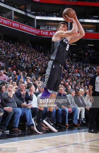Bogdan Bogdanovic of the Sacramento Kings shoots a three pointer against the Los Angeles Clippers on January 11 2018 at Golden 1 Center in Sacramento...