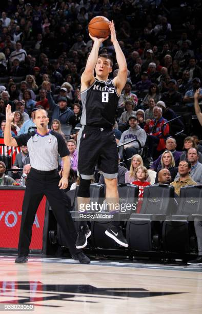 Bogdan Bogdanovic of the Sacramento Kings shoots a three pointer against the New Orleans Pelicans on March 7 2018 at Golden 1 Center in Sacramento...