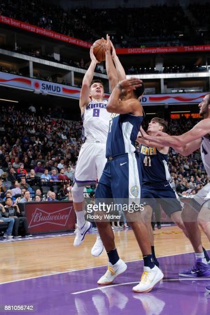 Bogdan Bogdanovic of the Sacramento Kings shoots against the Denver Nuggets on November 20 2017 at Golden 1 Center in Sacramento California NOTE TO...