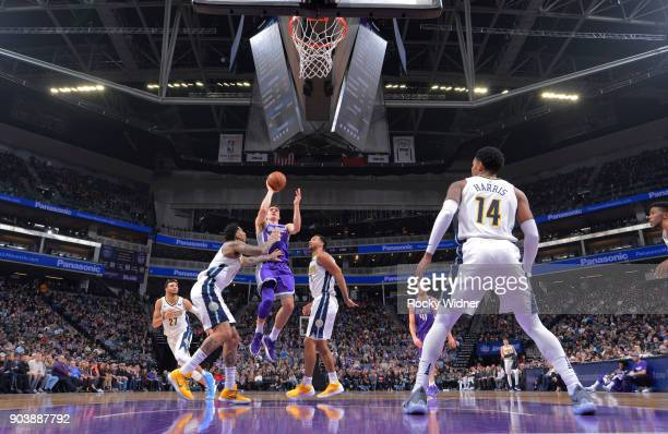 Bogdan Bogdanovic of the Sacramento Kings shoots against the Denver Nuggets on January 6 2018 at Golden 1 Center in Sacramento California NOTE TO...