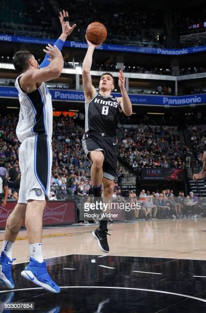 Bogdan Bogdanovic of the Sacramento Kings shoots against the Orlando Magic on March 9 2018 at Golden 1 Center in Sacramento California NOTE TO USER...