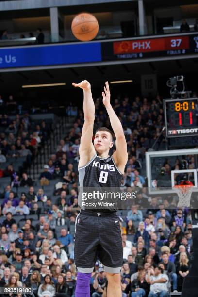 Bogdan Bogdanovic of the Sacramento Kings shoots against the Phoenix Suns on December 12 2017 at Golden 1 Center in Sacramento California NOTE TO...