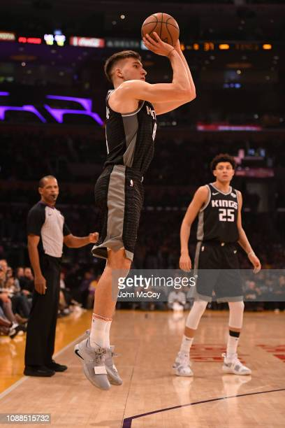 Bogdan Bogdanovic of the Sacramento Kings shoots from three point range against the Los Angeles Lakers at Staples Center on December 30 2018 in Los...
