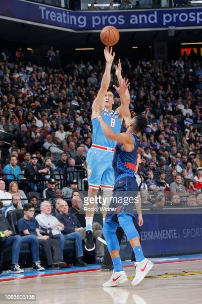 Bogdan Bogdanovic of the Sacramento Kings shoots the ball against the Oklahoma City Thunder on November 19 2018 at Golden 1 Center in Sacramento...