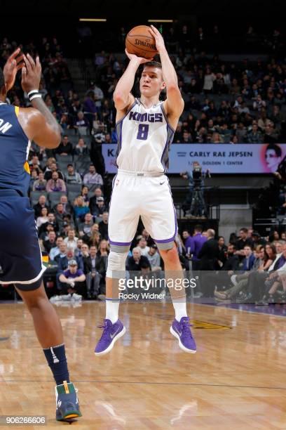 Bogdan Bogdanovic of the Sacramento Kings shoots the ball against the Utah Jazz on January 17 2018 at Golden 1 Center in Sacramento California NOTE...