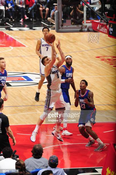 Bogdan Bogdanovic of the Sacramento Kings shoots the ball during the game against the LA Clippers on January 13 2018 at STAPLES Center in Los Angeles...