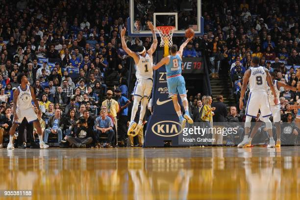 Bogdan Bogdanovic of the Sacramento Kings shoots the ball during the game against the Golden State Warriors on March 16 2018 at ORACLE Arena in...