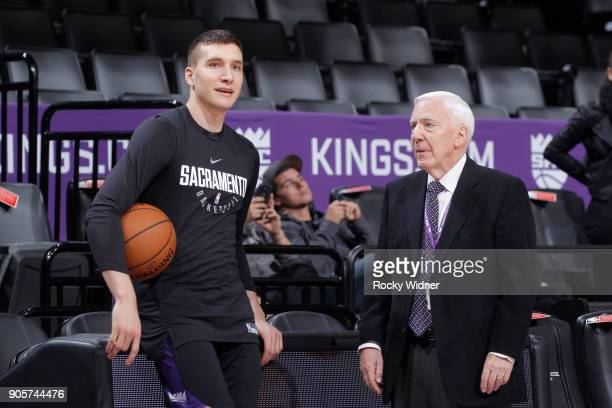 Bogdan Bogdanovic of the Sacramento Kings talks with American sportscaster Gary Gerould prior to the game against the San Antonio Spurs on January 8...