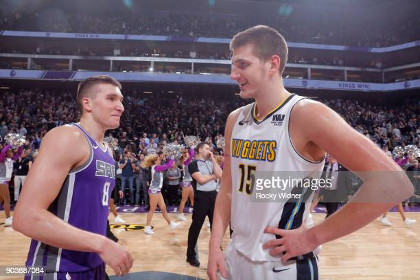 Bogdan Bogdanovic of the Sacramento Kings talks with Nikola Jokic of the Denver Nuggets after the game on January 6 2018 at Golden 1 Center in...