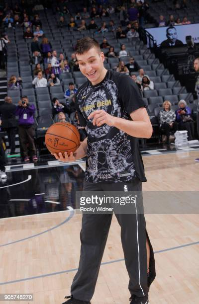 Bogdan Bogdanovic of the Sacramento Kings warms up against the Los Angeles Clippers on January 11 2018 at Golden 1 Center in Sacramento California...