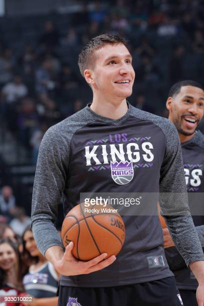 Bogdan Bogdanovic of the Sacramento Kings warms up against the Orlando Magic on March 9 2018 at Golden 1 Center in Sacramento California NOTE TO USER...