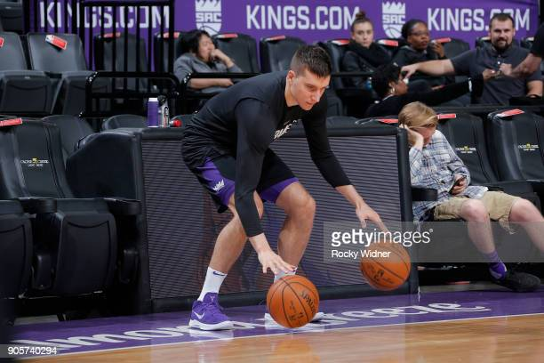 Bogdan Bogdanovic of the Sacramento Kings warms up against the San Antonio Spurs on January 8 2018 at Golden 1 Center in Sacramento California NOTE...