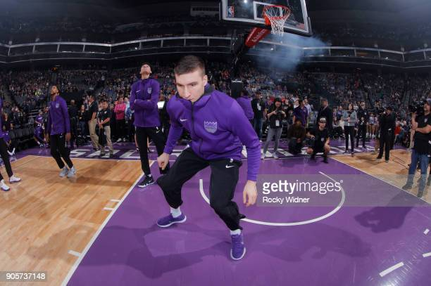 Bogdan Bogdanovic of the Sacramento Kings warms up prior to the game against the San Antonio Spurs on January 8 2018 at Golden 1 Center in Sacramento...