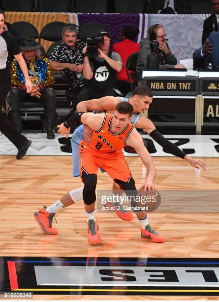 Bogdan Bogdanovic of the USA Team controls the ball against the World Team during the Mountain Dew Kickstart Rising Stars Game during AllStar Friday...