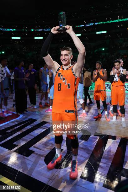 Bogdan Bogdanovic of the World Team accepts the MPV trophy after the game against the USA Team during the Mountain Dew Kickstart Rising Stars Game...
