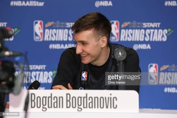 Bogdan Bogdanovic of the World Team addresses the media during the 2018 Mnt Dew Kickstart Rising Stars Challenge Practice as part of 2018 AllStar...
