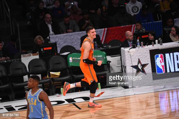 Bogdan Bogdanovic of the World Team celebrates during the Mtn Dew Kickstart Rising Stars Game during AllStar Friday Night as part of 2018 NBA AllStar...