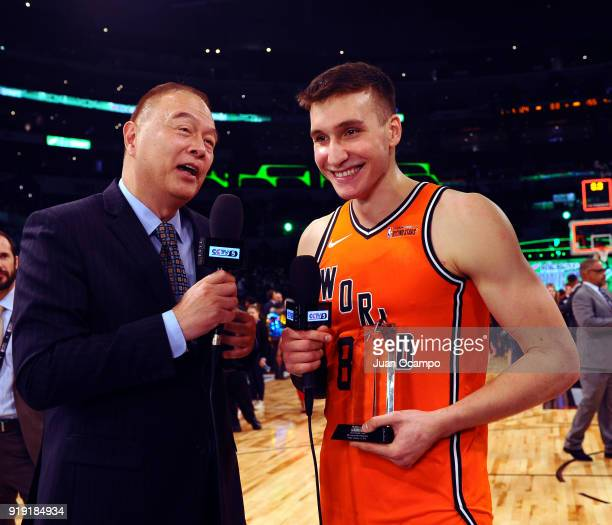 Bogdan Bogdanovic of the World Team is interviewed after winning the 2018 Most Valuable Player award in the Mountain Dew Kickstart Rising Stars Game...