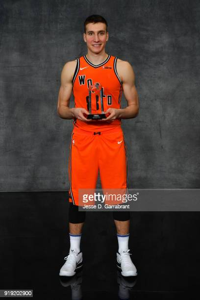 Bogdan Bogdanovic of the World Team poses with the Rising Stars MVP trophy after the Mountain Dew Kickstart Rising Stars Game during AllStar Friday...