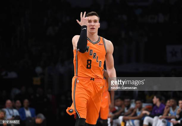 Bogdan Bogdanovic of the World Team reacts after making a threepoint shot during the 2018 Mountain Dew Kickstart Rising Stars Game at Staples Center...