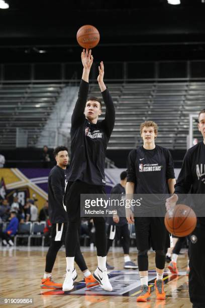 Bogdan Bogdanovic of the World Team shoots during Mtn Dew Kickstart Rising Stars Practice as part of the 2018 NBA AllStar Weekend on February 16 2018...