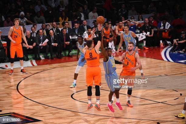 Bogdan Bogdanovic of the World Team shoots during the Mtn Dew Kickstart Rising Stars Game during AllStar Friday Night as part of 2018 NBA AllStar...