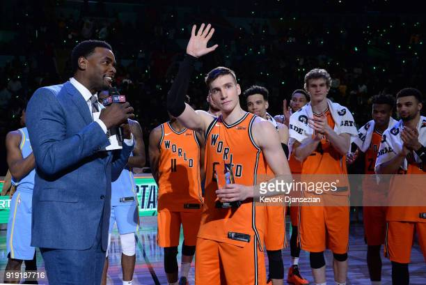 Bogdan Bogdanovic of the World Team waves to the fans after being named Rising Stars game MVP of the 2018 Mountain Dew Kickstart Rising Stars Game at...